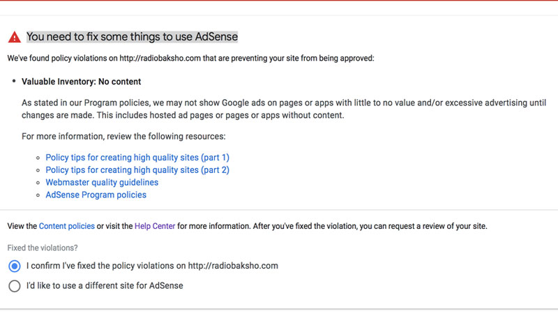 Google AdSense Valuable Inventory No Content (How To Solve It)